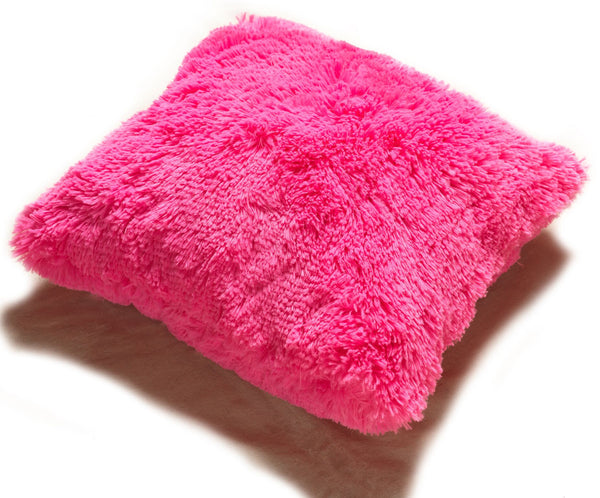 Set of 2 Shaggy Fur Toss Throw Pillows, FUSCHIA PINK