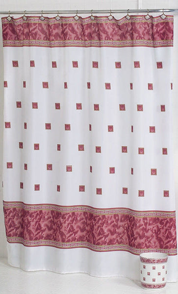 WINDSOR FABRIC SHOWER CURTAIN WITH GREEK KEY BORDER