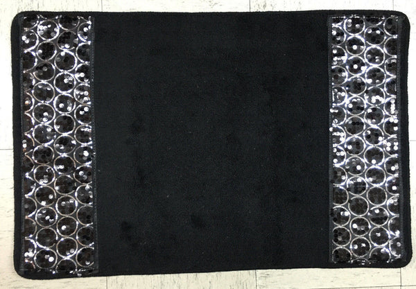 Popular Bath Sinatra Bath Rug with Sequins, Black