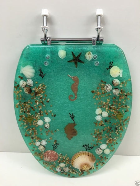 ELONGATED GREEN SEASHELL AND SEAHORSE RESIN TOILET SEAT, CHROME HINGES