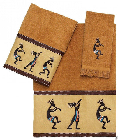 Avanti Kokopelli 3 Piece Bath Towel, Hand Towel and Fingertip Towel Set Gold