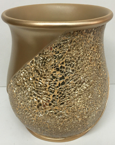 POPULAR BATH SINATRA RESIN WASTE BASKET, CHAMPAGNE GOLD
