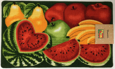 DANIELS WATERMELON, APPLES AND FRUIT KITCHEN RUG WITH NON SKID BACK