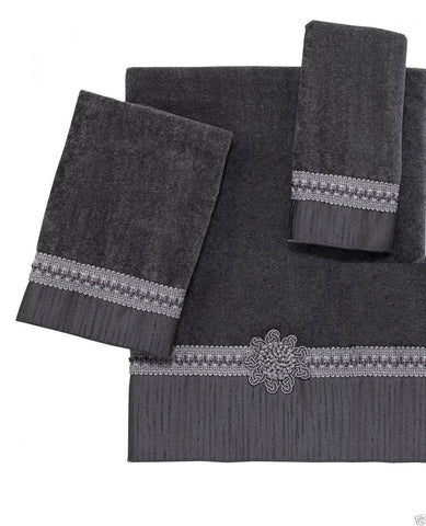 Avanti Braided Cuff Medallion 3 Piece Bath Towel Hand Towel and Fingertip Towel Set Granite