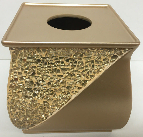 POPULAR BATH SINATRA RESIN TISSUE BOX, CHAMPAGNE GOLD
