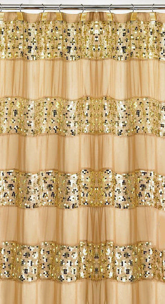 Popular Bath Sinatra CHAMPAGNE GOLD Fabric Shower Curtain