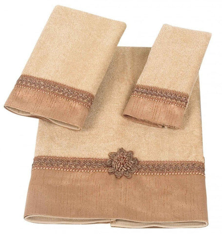 Avanti Braided Cuff Medallion 3 Piece Bath Towel Hand Towel and Fingertip Towel Set Gold