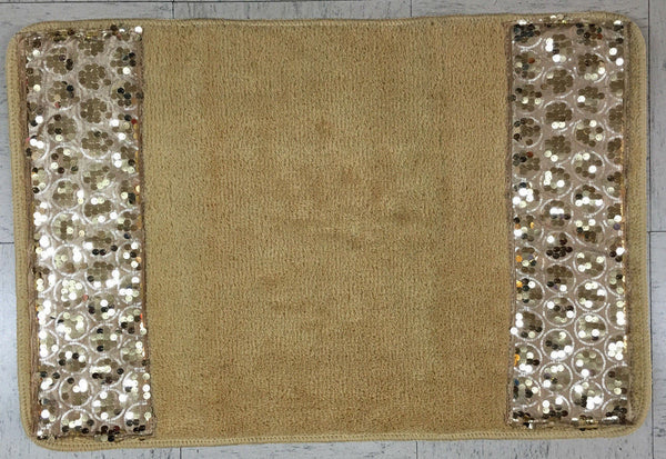 Popular Bath Sinatra Bath Rug with Sequins, Champagne and Gold