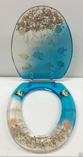 ELONGATED BLUE AQUARIUM FISH AND SEASHELL RESIN TOILET SEAT, CHROME HINGES