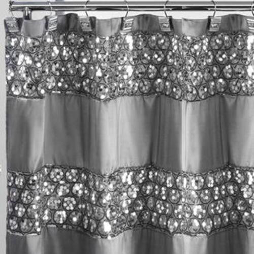 Popular Bath Sinatra SILVER Fabric Shower Curtain