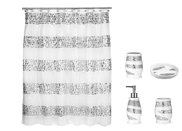 Popular Bath 5 Piece Sinatra White Shower Curtain and Resin Bath Accessory Set