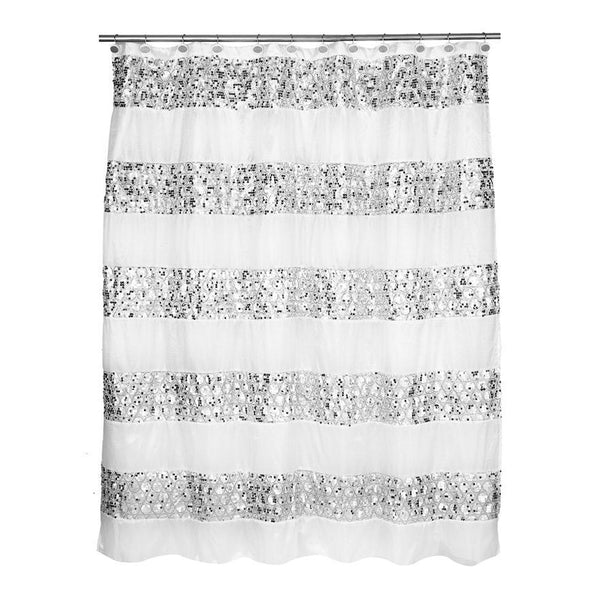 Popular Bath Sinatra WHITE Fabric Shower Curtain with Sequins