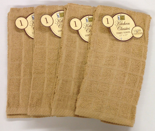 Set of 4 Cotton Terry Kitchen Towels, Solid Colors