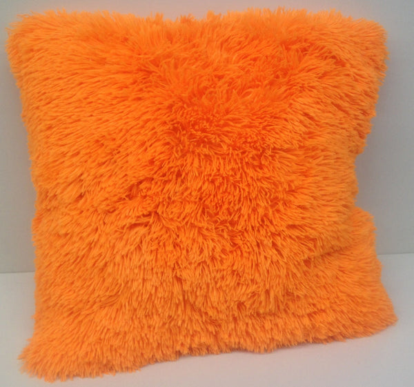 "Set of 2 Large Shaggy Fur Toss Throw Pillows, Many Colors, 20"" x 20"""