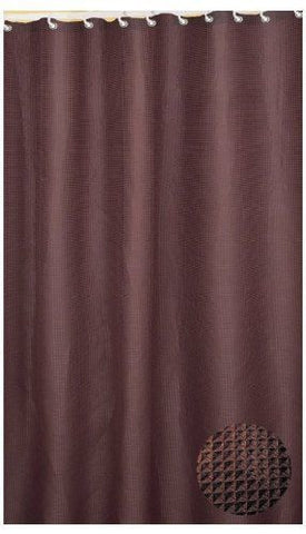 WAFFLE WEAVE TEXTURIZED FABRIC SHOWER CURTAIN, METAL GROMMETS