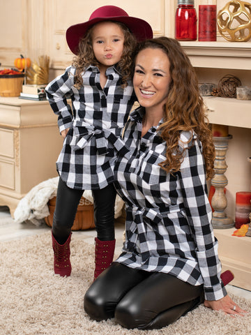 Mia Belle Mommy and Me Let's Play Checkers Plaid Belted Shirt with Vegan Leather Legging Set