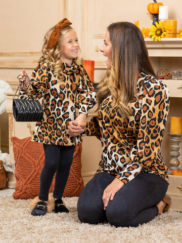 Mia Belle Mommy and Me Roaring with Style Long Puff Sleeved Top with Leggings Set