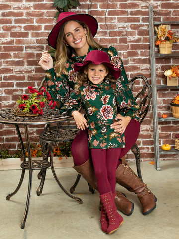 Mia Belle Mommy and Me Floral Chic Puff Sleeved Top with Leggings Set