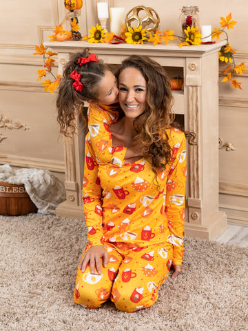 Mia Belle Mommy and Me Spicy Latte Long Sleeve Pajama Set