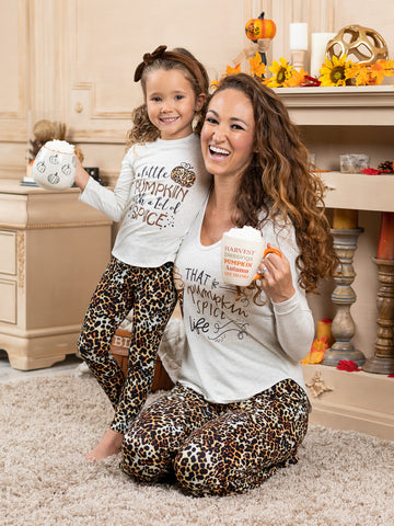 Mia Belle Girls Mommy and Me A Little Pumpkin with A Lot of Spice Sleeve Pajama Set