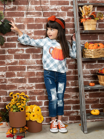 Mia Belle Girls Need a Cup Full of Pumpkin Spice Checkered Top and Patched Jeans Set