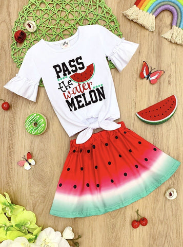 Mia Belle Girls Pass the Watermelon Ruffled Knot Top and Watermelon Skirt Set