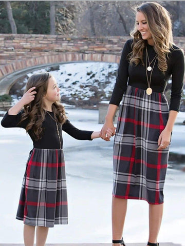 Mia Belle Mommy and Me Fall Long Sleeve Plaid Dress