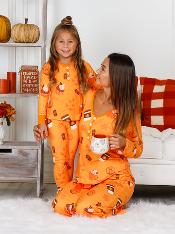 Mommy and Me Long Sleeve Buttoned Coffee and Cupcakes Print Pajama Set