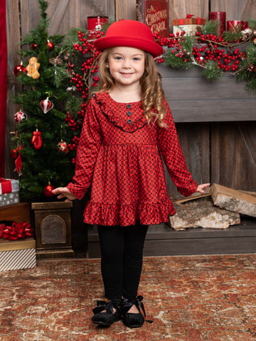 Mia Belle Girls Can't Go Wrong with Casual Chic Ruffled Plaid Tunic with Legging Set