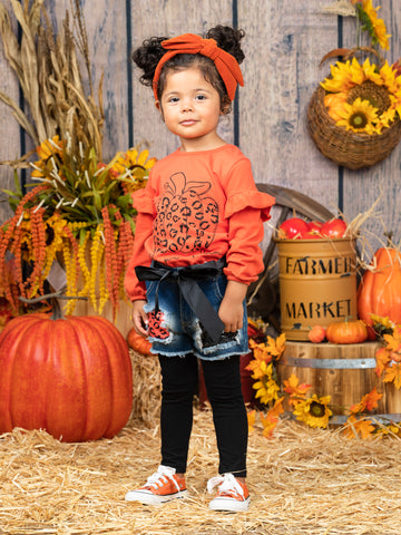 Mia Belle Girls Hello Pumpkin Top with Patched Denim Shorts and Legging Set