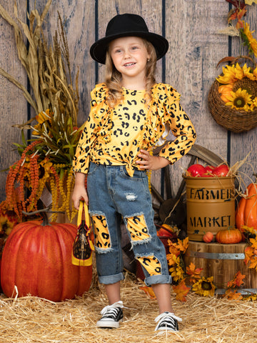 Mia Belle Girls Yellow Leopard Ruffled Top and Patched Jeans Set