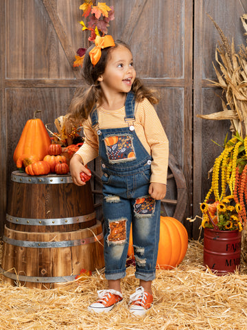 Mia Belle Girls Fall-ing Leaves Striped Top and Patched Denim Overall Set