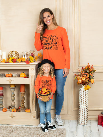 Mia Belle Girls Mommy and Me Autumn Leaves and Pumpkins Please Top