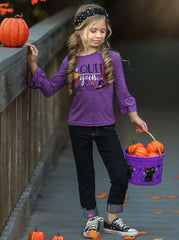 """Mia Belle Girls Ruffle Sleeve """"Quit Your Witchin"""" Top and Cuffed Jeans Set"""