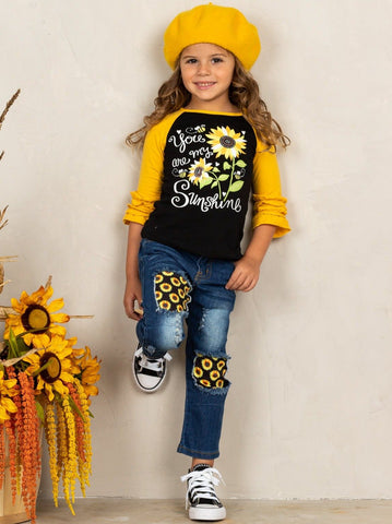 """Mia Belle Girls """"You Are My Sunshine"""" Raglan Top and Patched Jeans Sunflower Set"""
