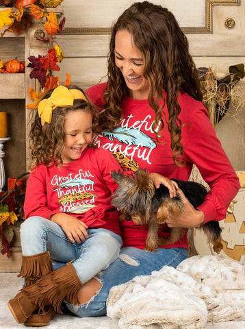 """Mia Belle Girls Mommy & Me """"Grateful, Thankful & Blessed"""" Knot Top"""