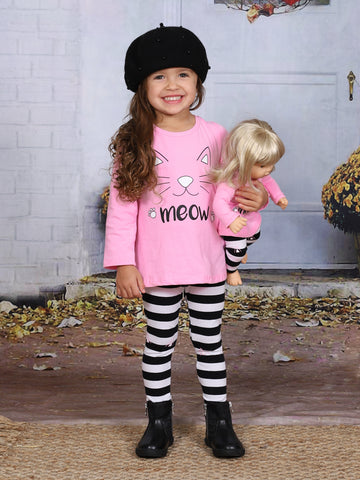 """Mia Belle Girls Pink Long Sleeve Kitty """"Meow"""" Top & Striped Leggings Set with Matching Doll Set"""
