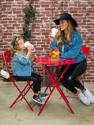 Mia Belle Girls Mommy and Me We All Need Pearls Denim Jacket