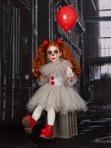 Mia Belle Girls IT Movie Inspired Pennywise Scary Clown Halloween Costume