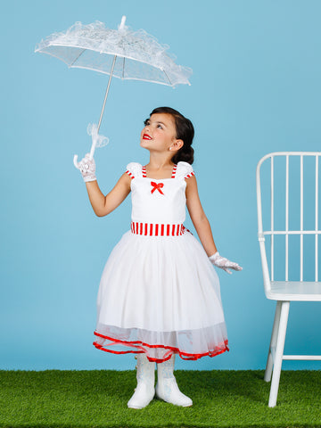 Mia Belle Girls Mary Poppins Inspired Striped Halloween Costume with Lace Gloves
