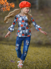 Mia Belle Girls Pumpkin Print Ruffled Top and Patched Jeans Set