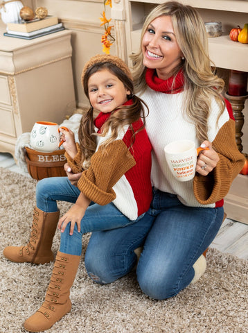 Mia Belle Girls Mommy & Me Turtle Neck With Kimono Sleeves Knit Sweater