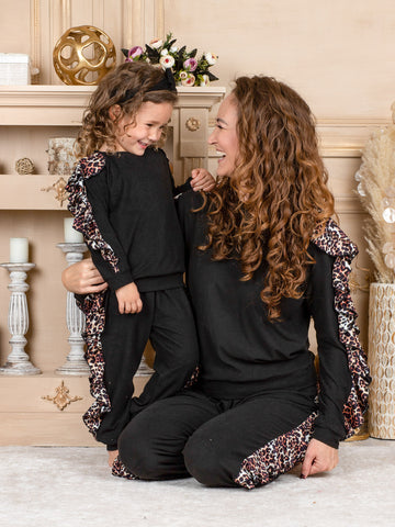 Mia Belle Girls Mommy and Me Black with Leopard Ruffled Sleeves Loungewear Set