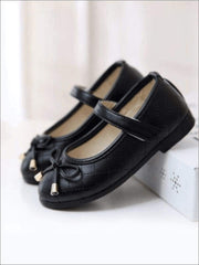 Mia Belle Girls Black Bow Flats Shoes By Liv and Mia