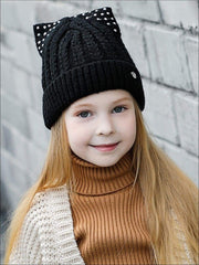Mia Belle Girls Fall Cable Knit Animal Ear Embellished Beanie