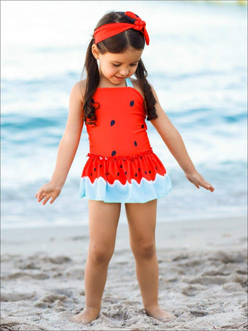 Girls You are One in a Melon One Piece Swimsuit with Matching Headband