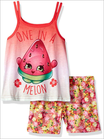 Intimo Big Girls' Shopkins One in a Melon Pajama Tank Top Set, Red