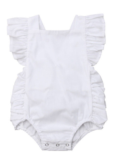 Baby onesie has cute little shoulder ruffles and ruffles on the side. Overall style with strap closure at the back White