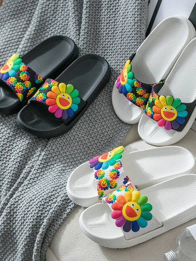 Women's Smile Sunflower Slides By Liv and Mia