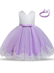 Baby Floral Lace Embroidered Beaded Dress with Bow-lilac